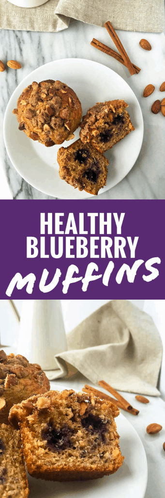 Bakery Style Whole Wheat Blueberry Muffins - Healthy and Delicious!