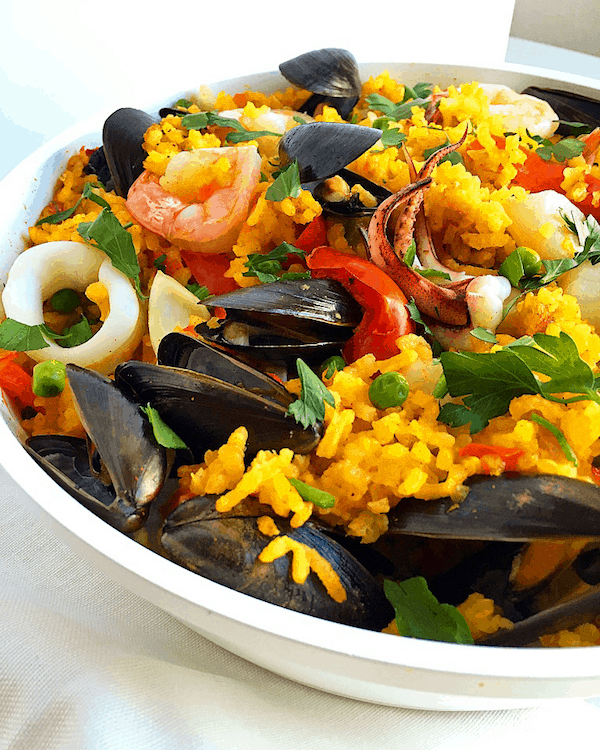 Easy one skillet seafood paella baked ambrosia i wasnt really feeling chicken so i skipped the meat altogether and made a strictly seafood paella forumfinder Images