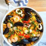 Easy One Skillet Seafood Paella