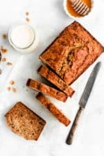 Healthy Banana Bread Recipe - Made with whole wheat and no refined sugar