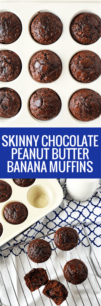 SKINNY Double Chocolate Peanut Butter Banana Muffins