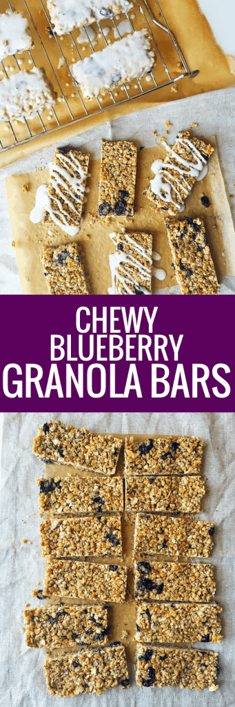 Secretly Healthy Chewy No Bake Blueberry Granola Bars with Greek Yogurt Glaze