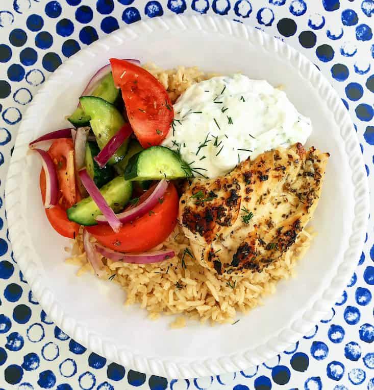 Greek Chicken Rice Bowl with Tzatziki