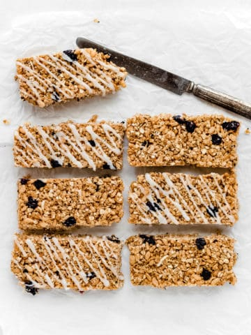 The Best Blueberry Granola Bars with Greek Yogurt Drizzle