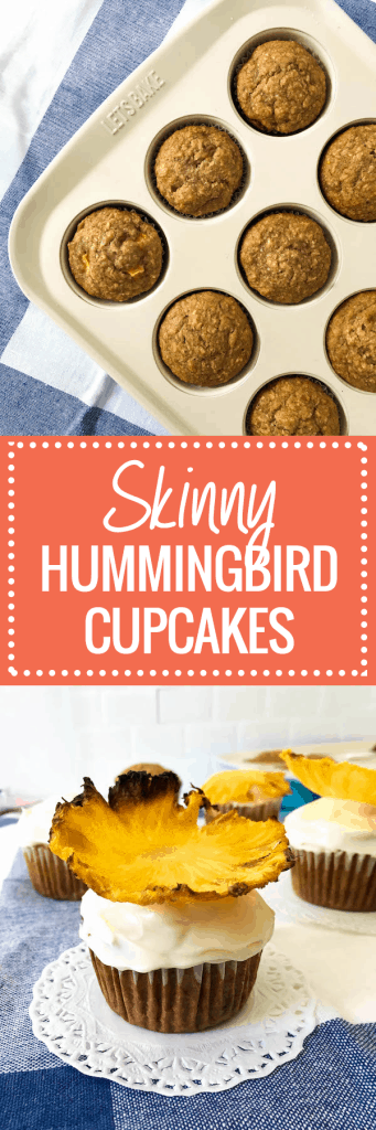 Skinny Hummingbird Cupcakes with Cream Cheese Frosting and Pineapple Flowers