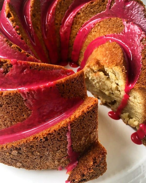 Almond Bundt Cake Hibiscus Glaze