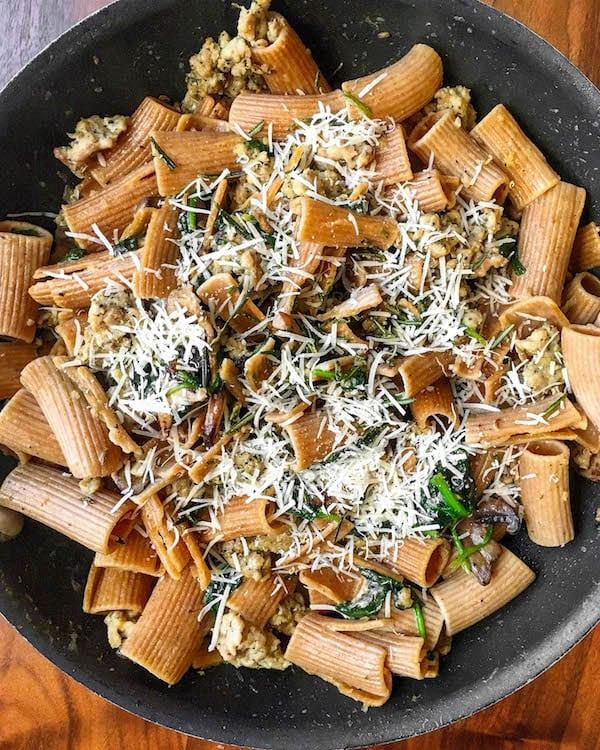 mushroom-spinach-sausage-pasta