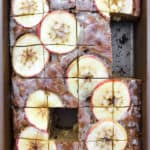 Healthy Whole Wheat Cinnamon Apple Cake with Maple Glaze