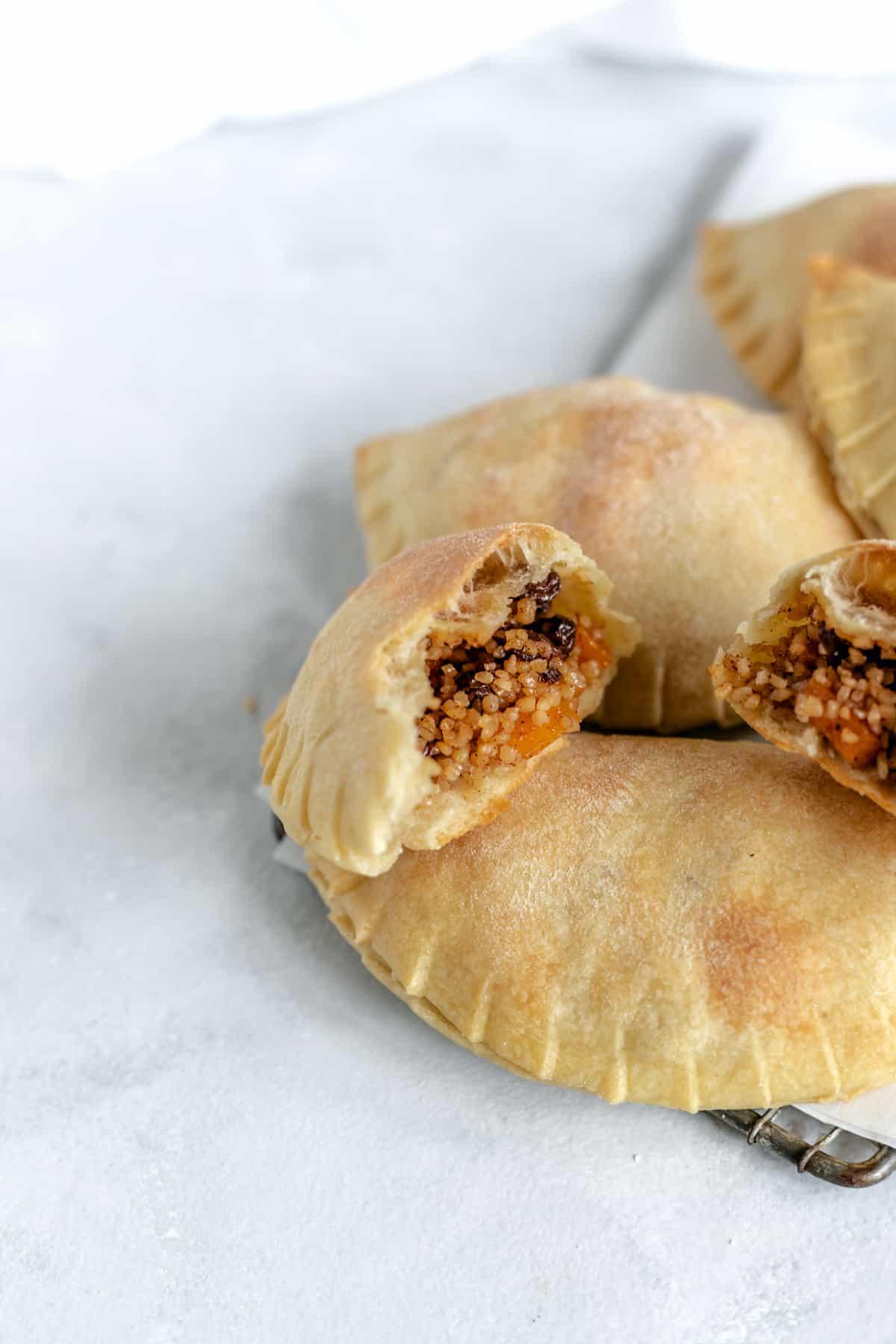 Kolokotes - Cypriot Pumpkin Pie filled with bulgur, pumpkin, and raisins