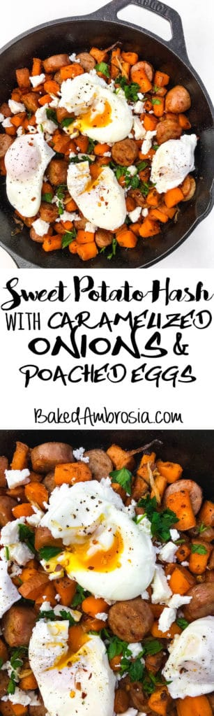 Sweet Potato Hash with Caramelized Onions, Sausage, Feta, and Poached Eggs