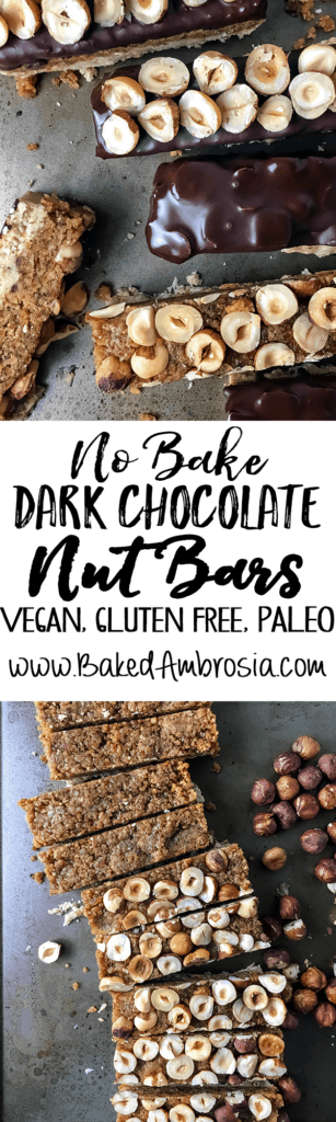 No Bake Dark Chocolate Nut Bars (Vegan, Gluten Free, Paleo)
