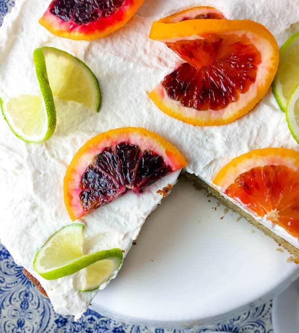 Boozy Blood Orange Margarita Cake