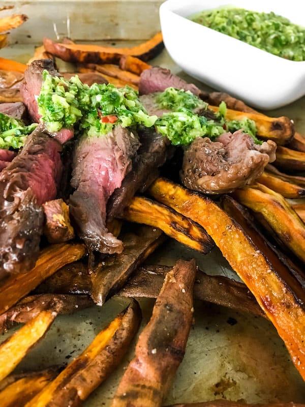 Chimichurri Steak Sweet Potatoes