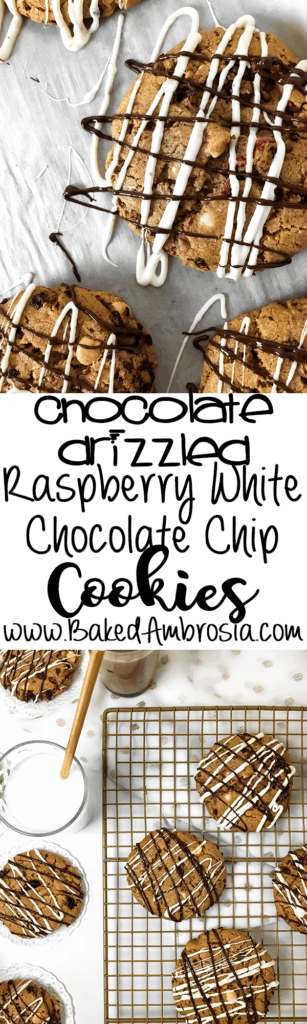 Chocolate Drizzled Raspberry White Chocolate Chip Cookies