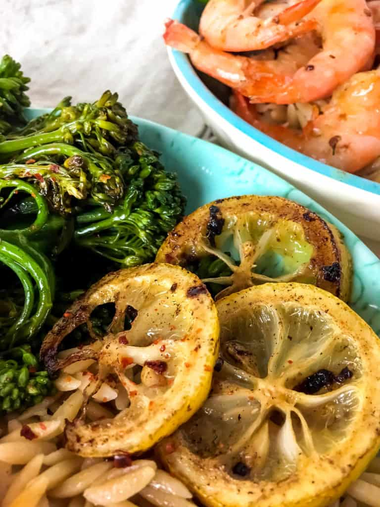 Lemon Broccolini Shrimp Orzo