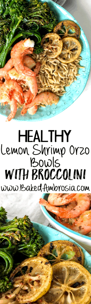 Healthy Lemon Shrimp Orzo Bowls with Broccolini