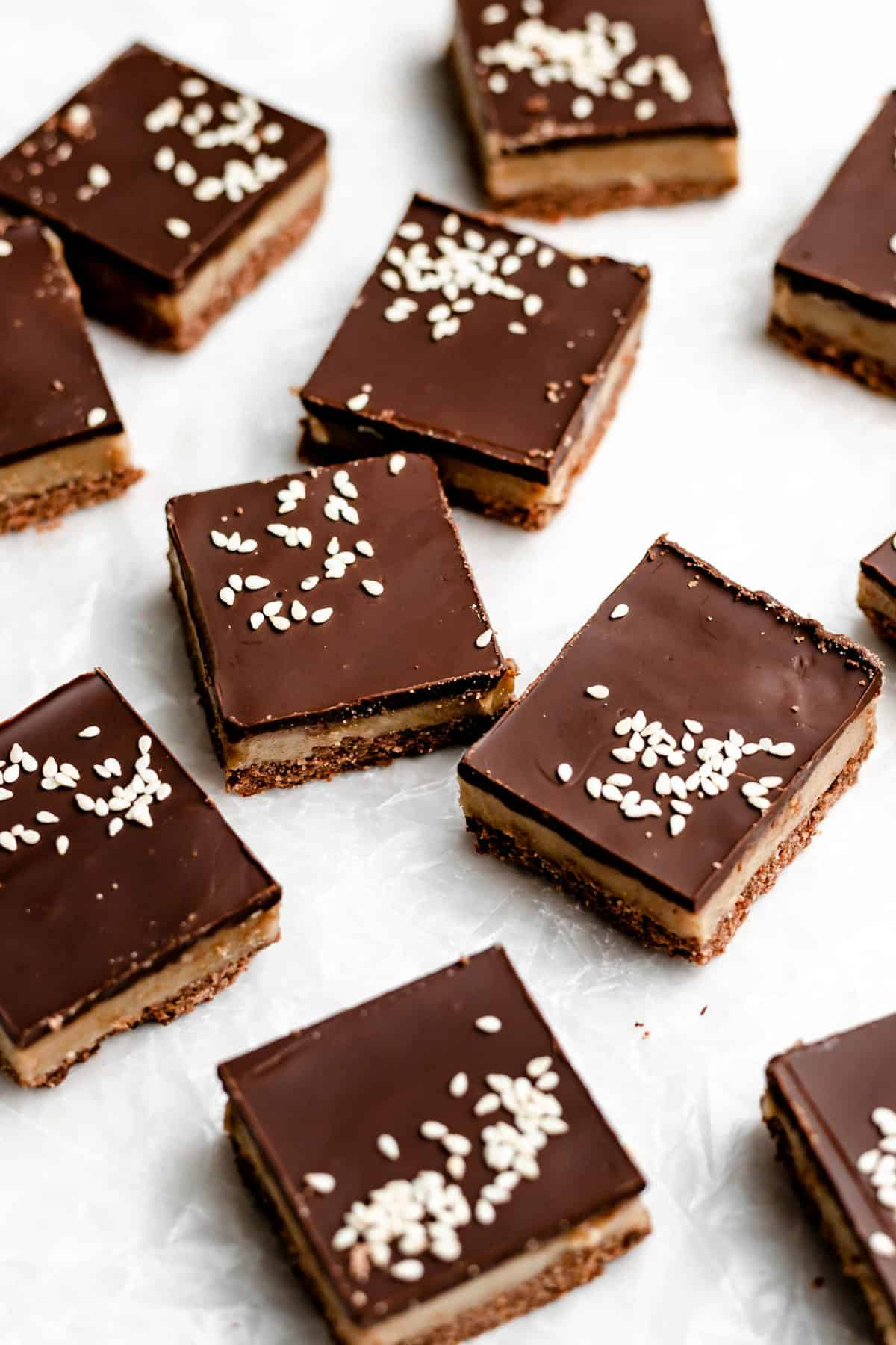 tahini bars on parchment paper