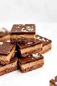 stack of chocolate tahini bars