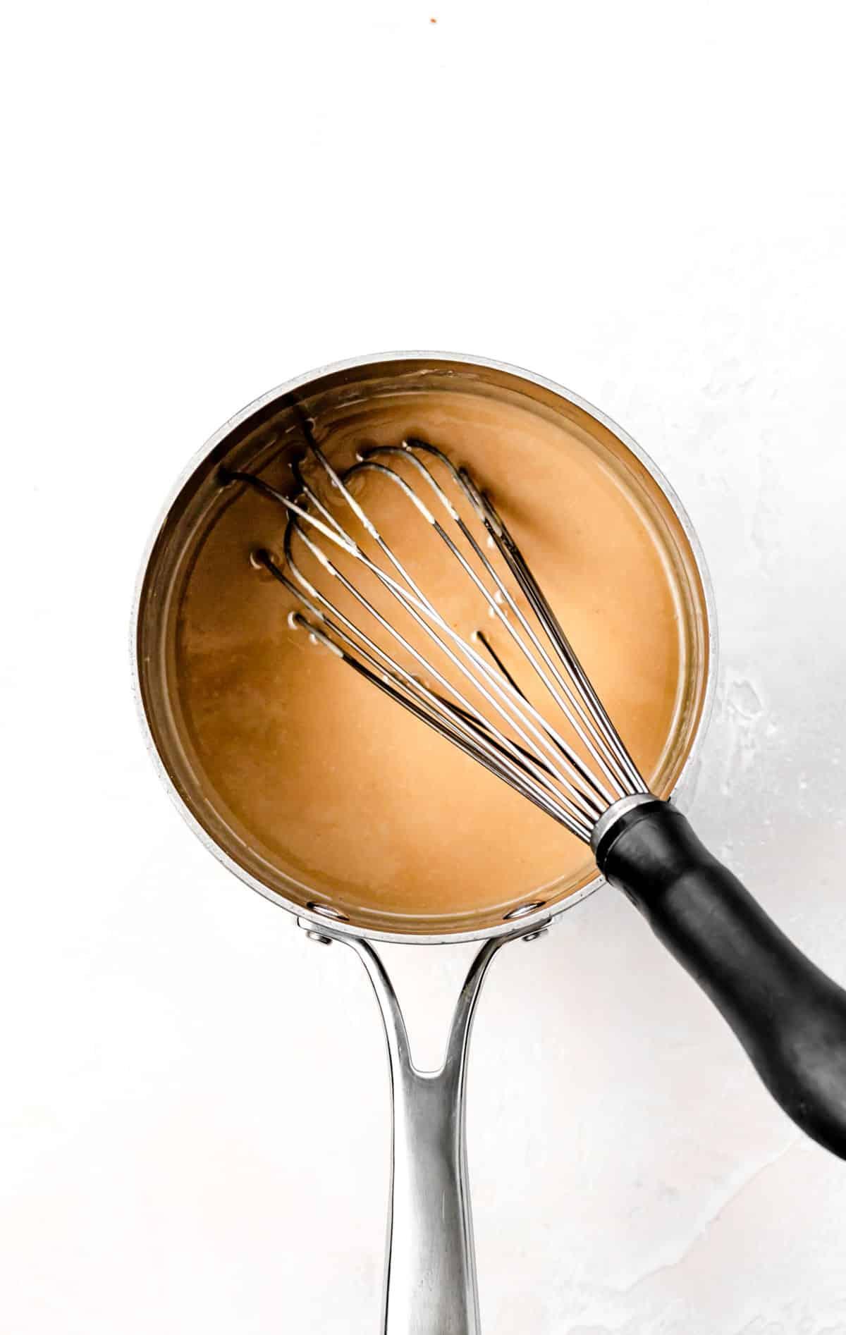 tahini filling in saucepan