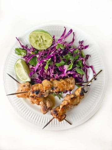 Grilled Pineapple Chicken Skewers with Cilantro Lime Slaw