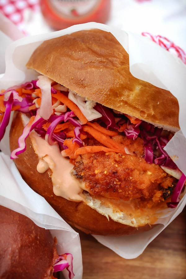 Healthier Oven Fried Buffalo Chicken Sandwich