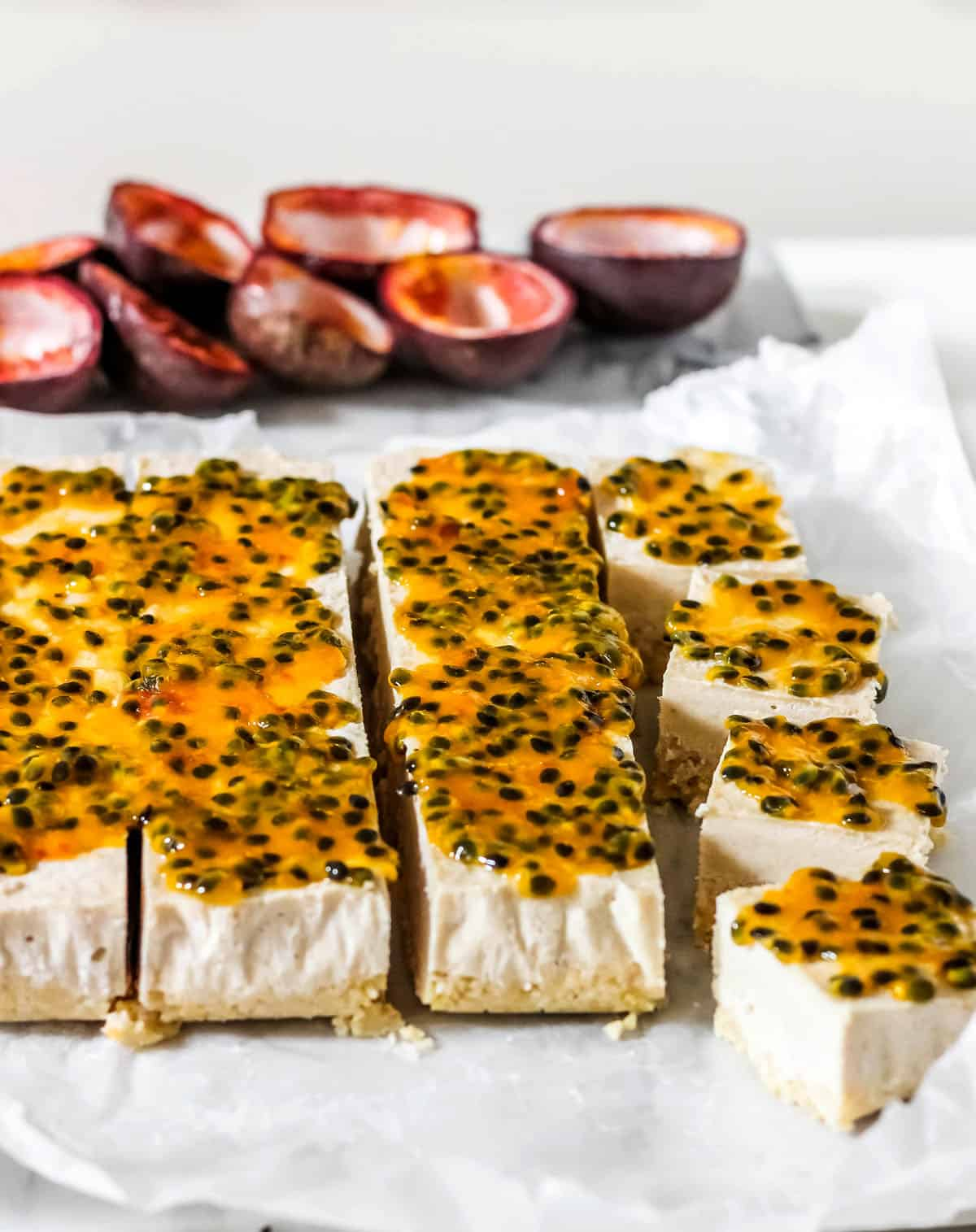 No Bake Coconut Passionfruit Bars Gluten Free Paleo Vegan