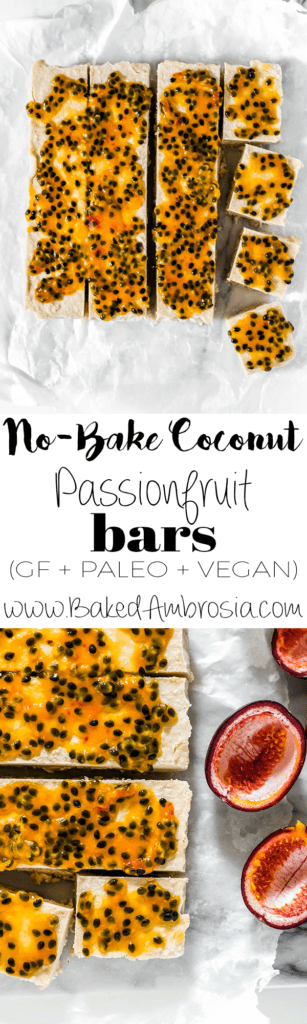 No-Bake Coconut Passionfruit Bars (GF + PALEO + VEGAN)