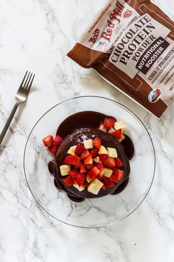 gluten free dairy free chocolate protein pancakes