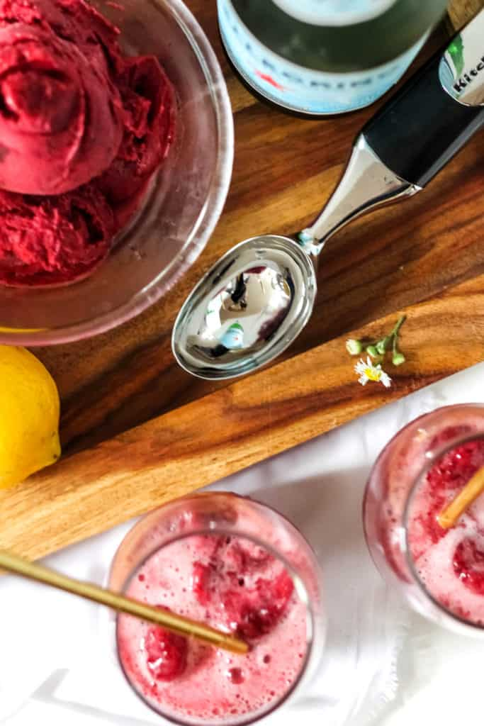 Cherry Sorbet Floats with San Pellegrino