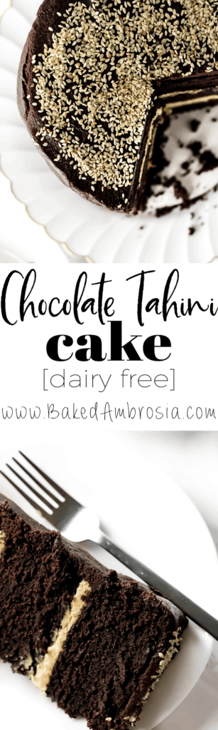 Chocolate Tahini Layer Cake (Dairy Free)