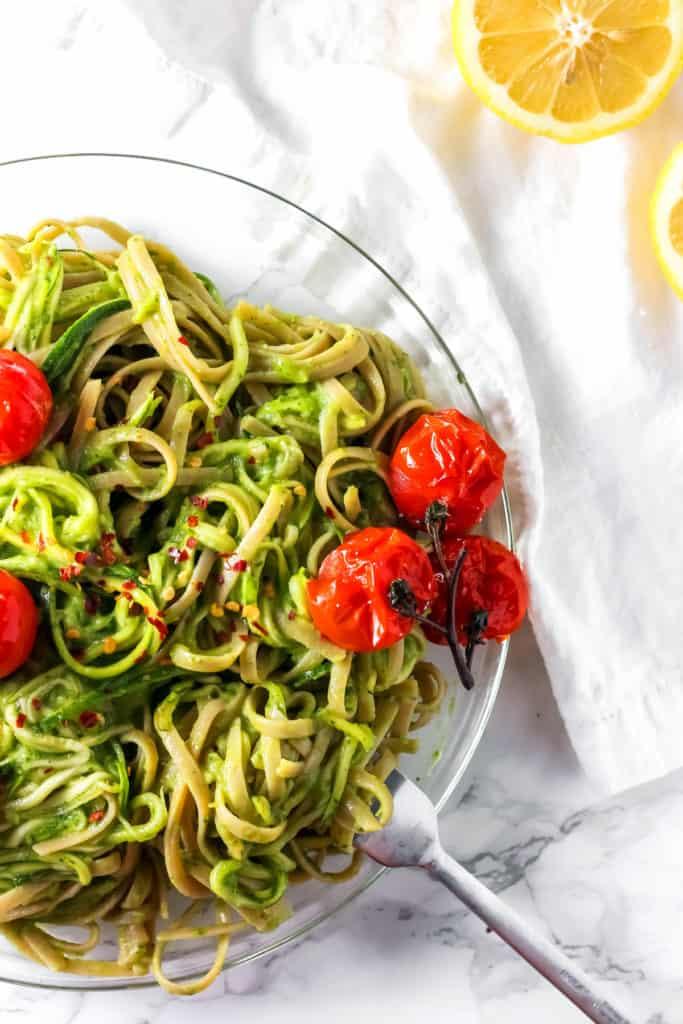 Green Goddess Zucchini Pasta Vegan
