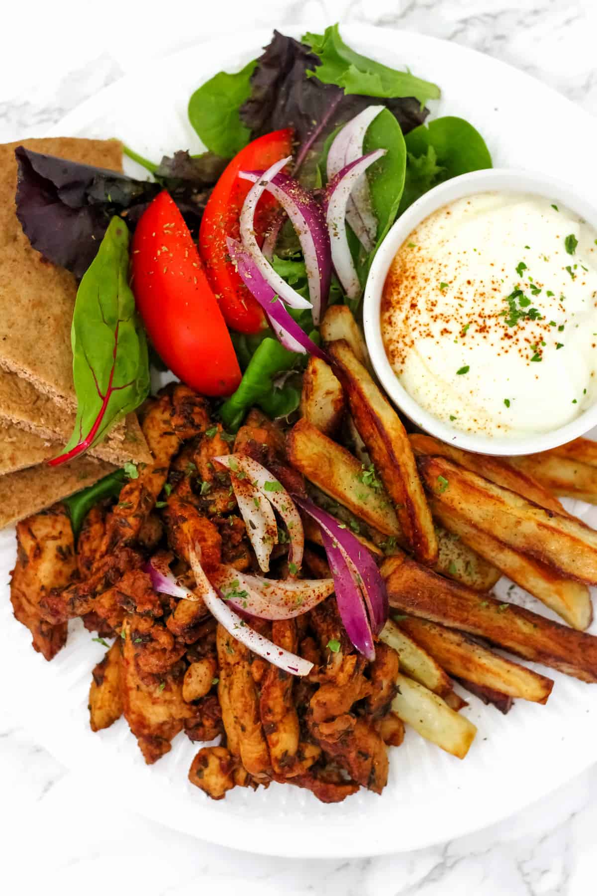 Healthy Greek Chicken Gyro Platter