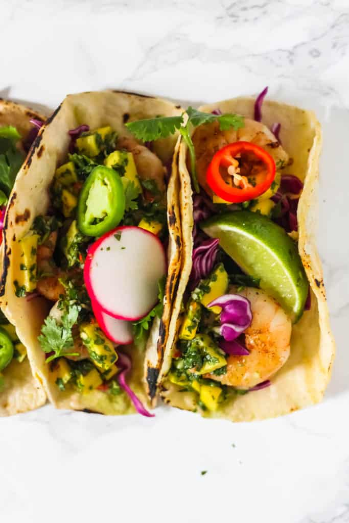 Grilled Shrimp Tacos with Mango Chimichurri (Gluten Free)