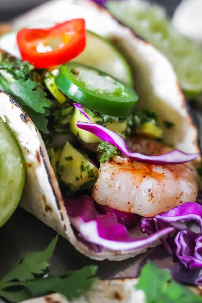 Healthy grilled shrimp tacos