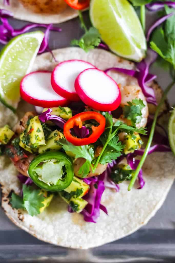 Taco Tuesday Grilled Shrimp Tacos with Mango Chimichurri recipe
