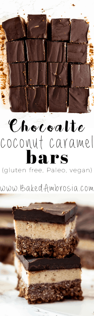 Chocolate Coconut Caramel Bars (Gluten Free, Paleo, Vegan)