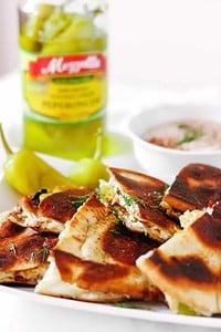 Greek Quesadillas with Spicy Yogurt Sauce