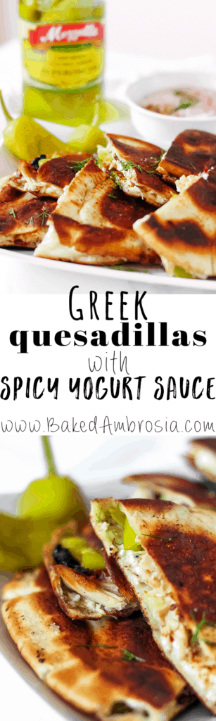 Greek Quesadillas with Spicy Yogurt Sauce