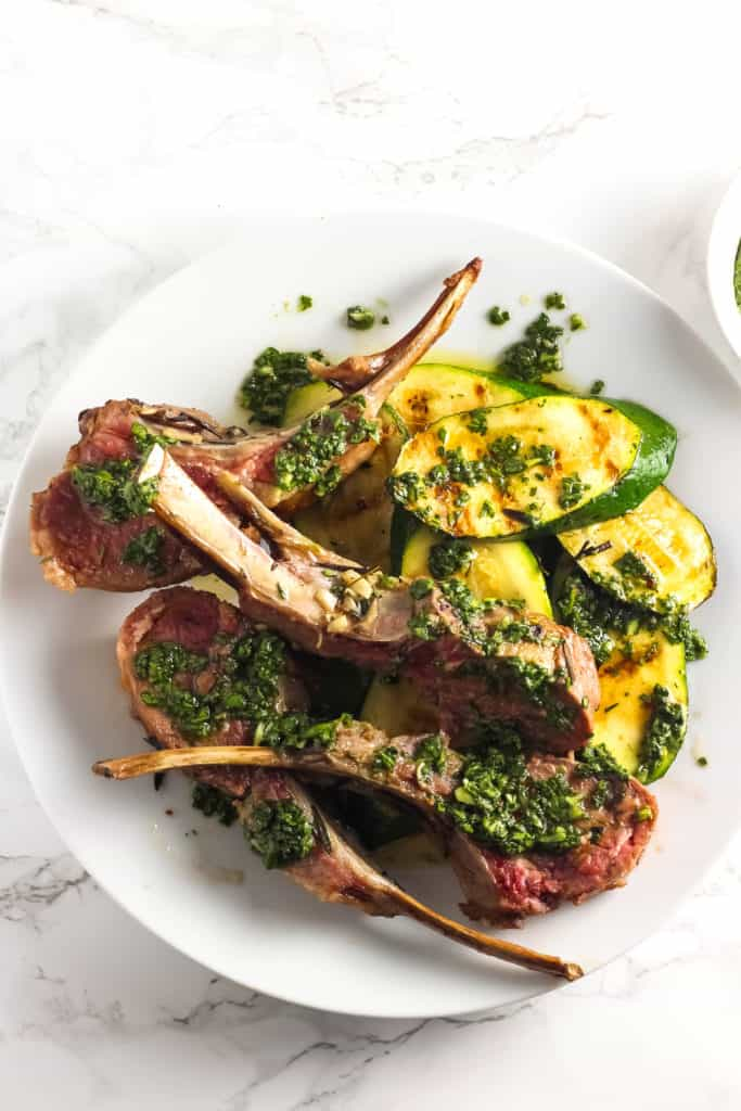 Grilled Rack of Lamb with Green Sauce