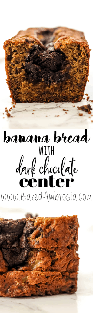 Banana Bread with a Dark Chocolate Center
