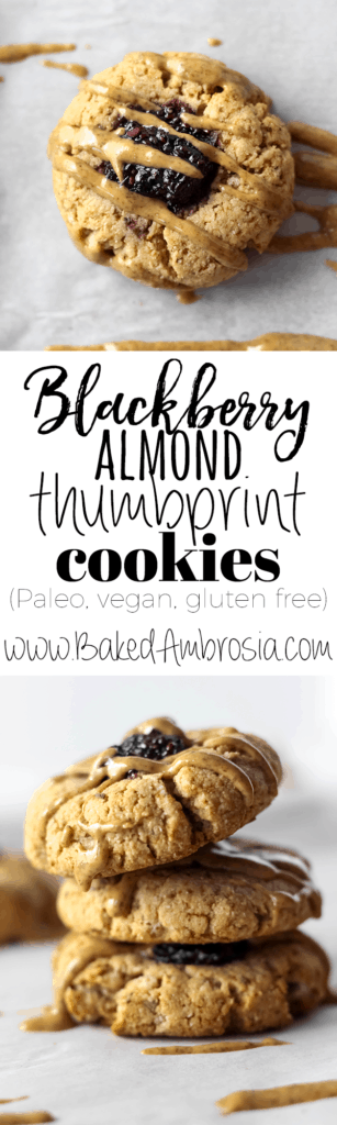 Blackberry Almond Thumbprint Cookies (Paleo, Gluten Free, Vegan)