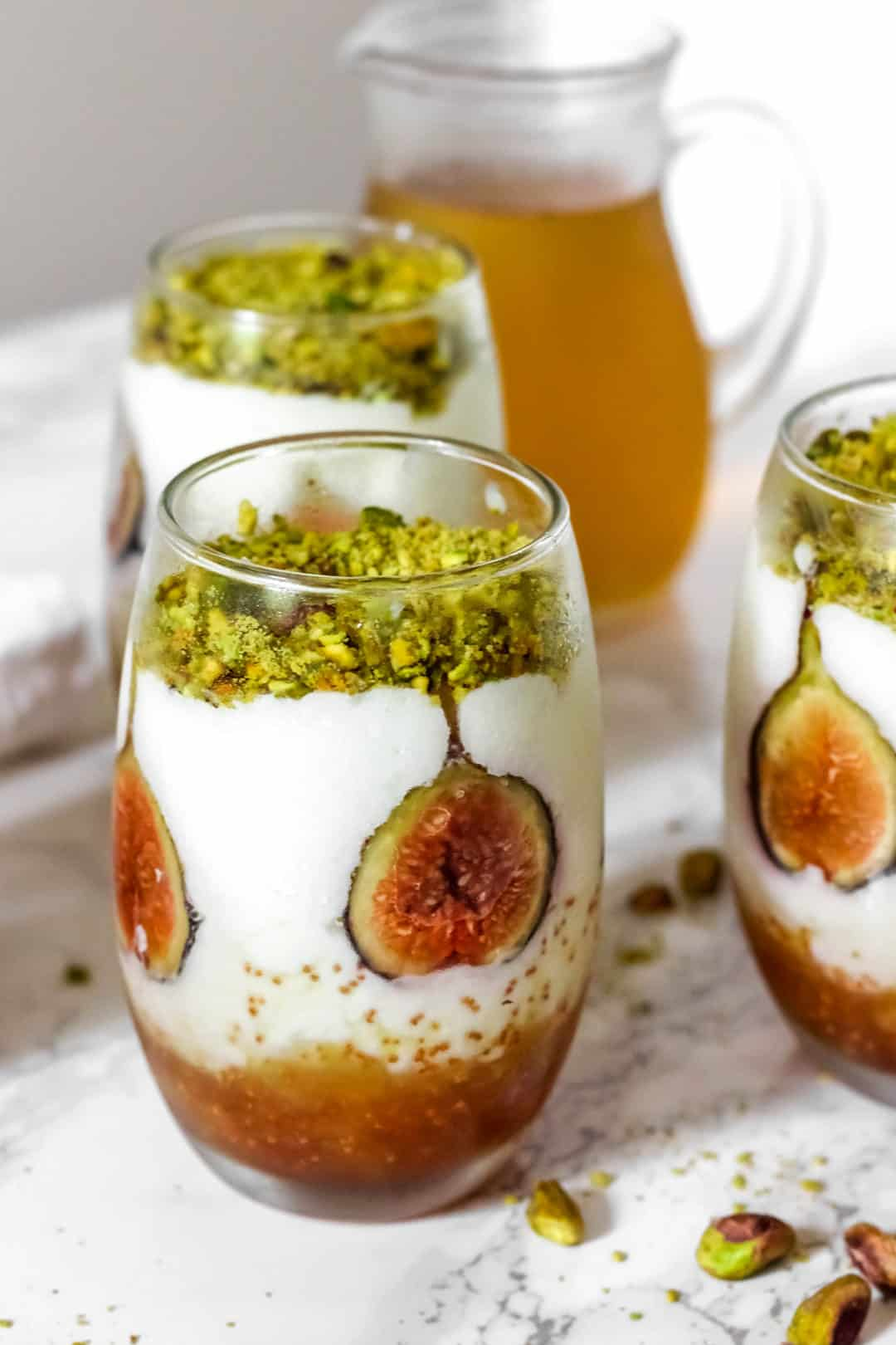Lebanese Mahalepi with Figs (Milk Pudding with Orange Blossom Syrup)