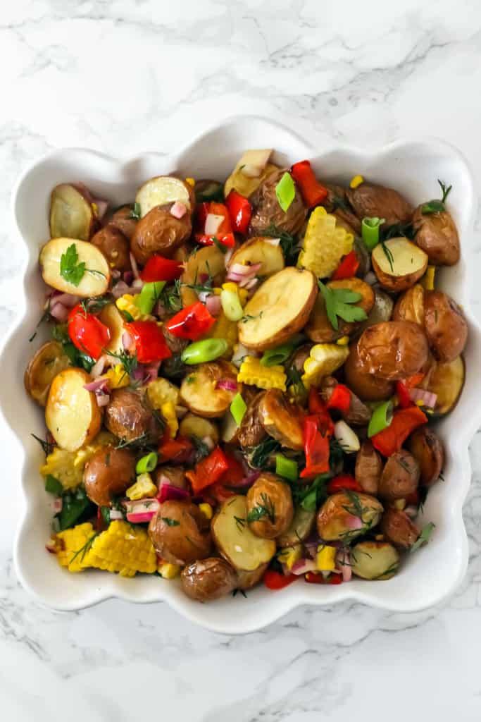 Roasted Corn and Potato Salad (no mayo!)