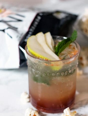 Autumn Honey Cinnamon Pear Mojito with Sea Salt and Pepper SkinnyPop Popcorn