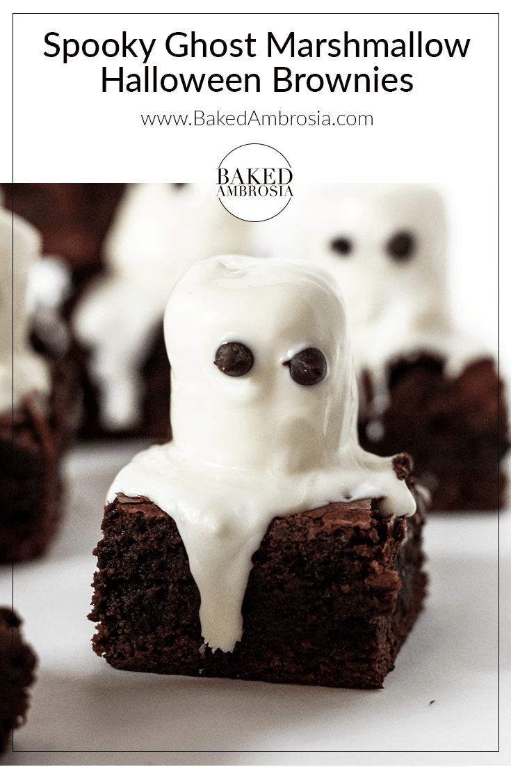 Spooky Ghost Marshmallow Halloween Brownies