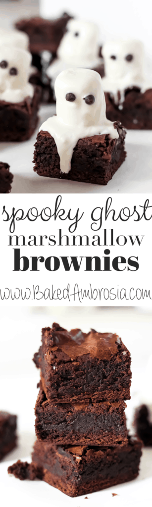 Spooky Ghost Marshmallow Brownies