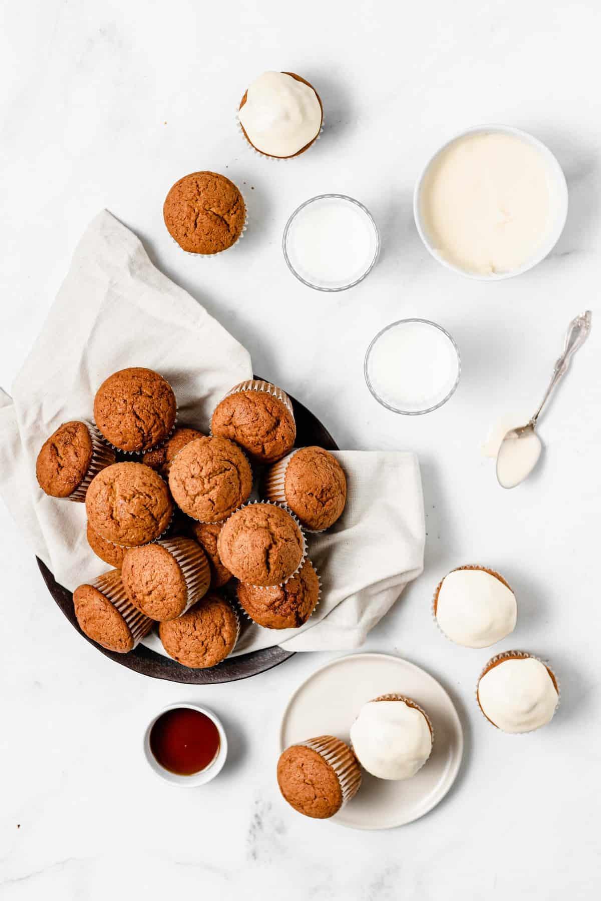 pumpkin muffins and maple glaze