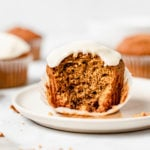 moist pumpkin muffin with maple glaze