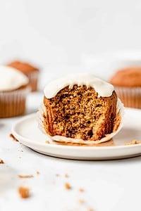 moist pumpkin muffin with maple glaze