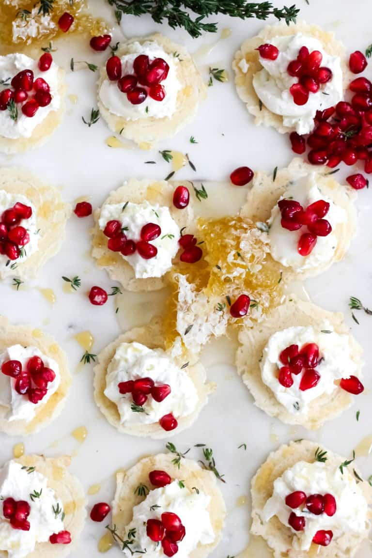Honey Thyme Whipped Goat Cheese Bites with Pomegranate